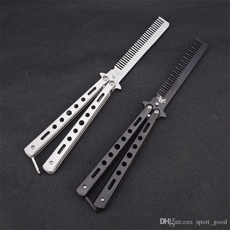 Outdoor camping practice comb knife stainless steel butterfly knife comb practice tools training knife without blades