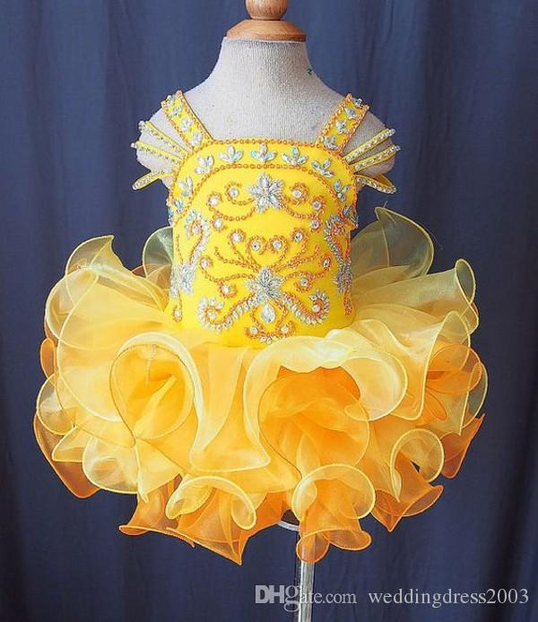 Cute 2018 Pattern Toddler Pageant Dresses Spaghetti Straps Sparkly Beading Bodice Ruffles Skirt Yellow Organza Kids Prom Dresses