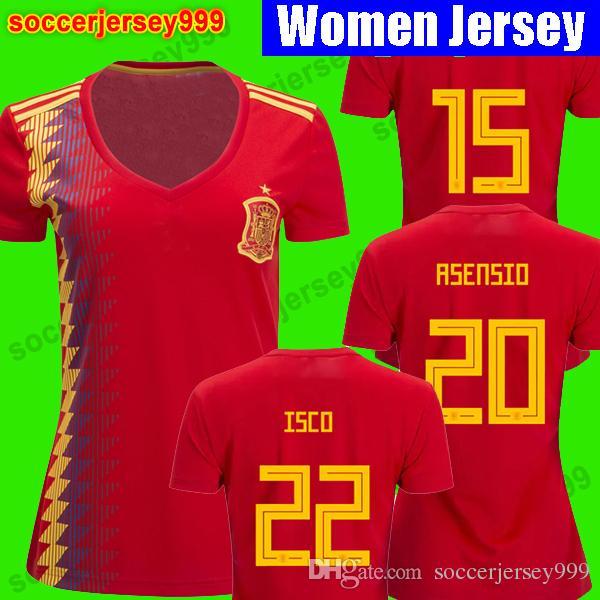 Tailandia Camisetas De Futbol Asensio Morata Mujeres España Camisetas De  Fútbol Copa Del Mundo 2018 Ramos Iniesta Camiseta De Fútbol Camisa Niña  Damas Por ... 87a83aa1ddcb4
