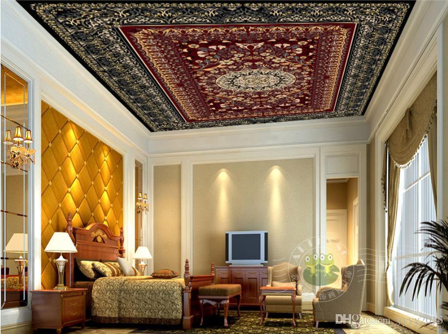 Stereoskopische Tapete 3d Modische exquisite rote Familie verlässt Musterteppichkunst Zenith-Fresken