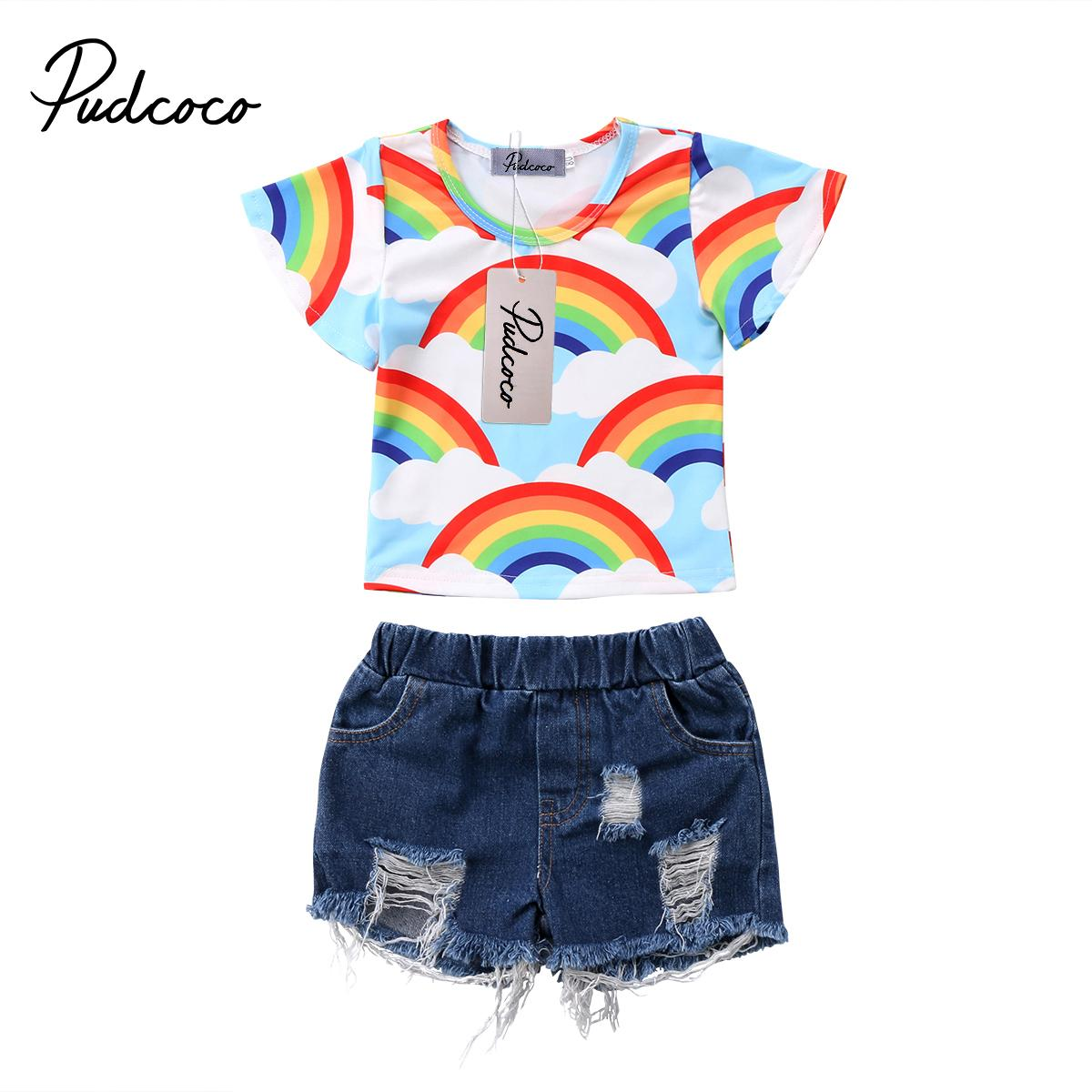 f1f614fa07 2019 2018 Brand New Infant Toddler Child Kid Baby Girls Rainbow Tops T Shirt  Hole Denim Shorts Pants Jeans Outfit Clothes 1 6T From Buycenter