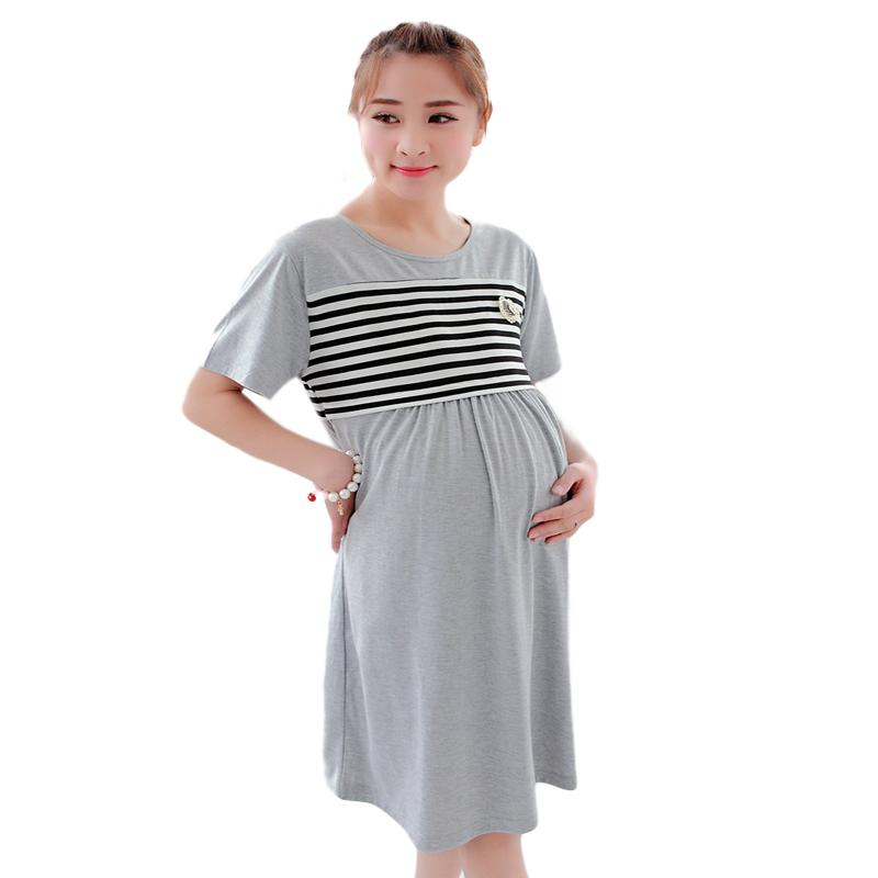 0712dfc40 Compre Grande Plus Size Pijama Maternidade Camisolas Vestido De Lactação  Para Roupas De Enfermagem Nightwear Camisola De Amamentação Para Grávidas  De ...