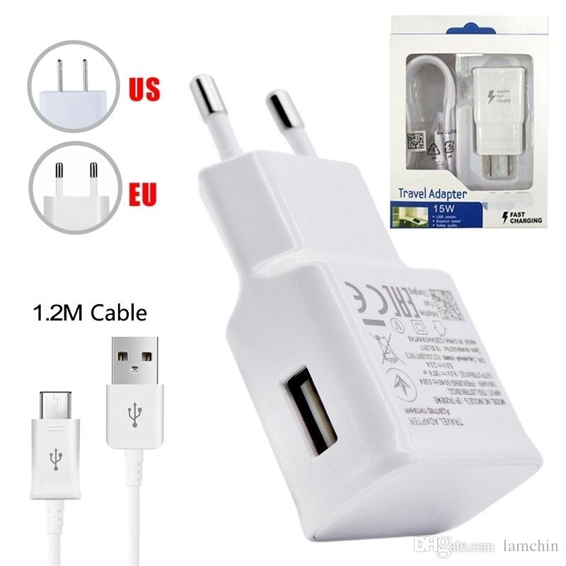 Wall Charger Adapter Fast Charging Travel Wall Charger +1.2M Micro USB Data Cable for Samsung Galaxy S6 Edge Plus with Retail Package