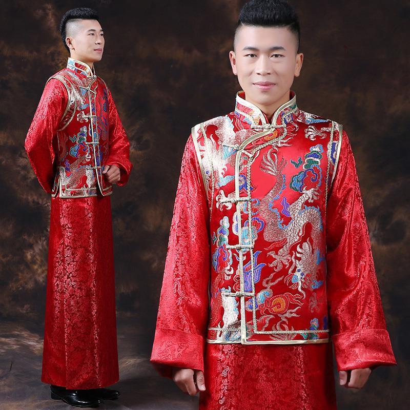 Acquista Abito Da Sposa Cinese Tradizionale Rosso Vestito Da Cerimonia  Nuziale Del Drago Di Trasporto Libero Vestito Cinese Tradizionale Vestito Da  ... 59cce5b099b