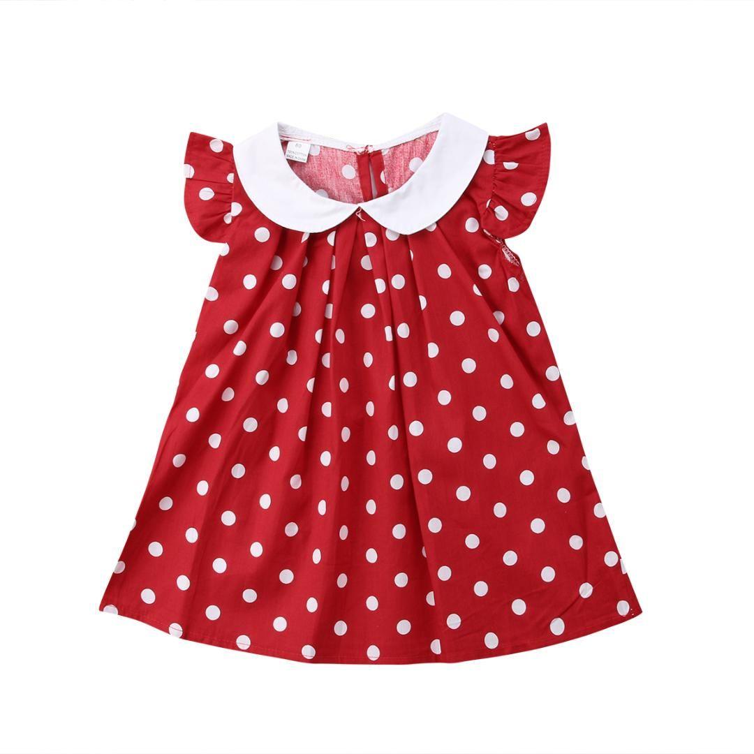 ccc6b853862ef Princess Baby Girls Dot Red Dress Peter pan collar Newborn Baby Girls Patry  Birthday Dress 2018 New