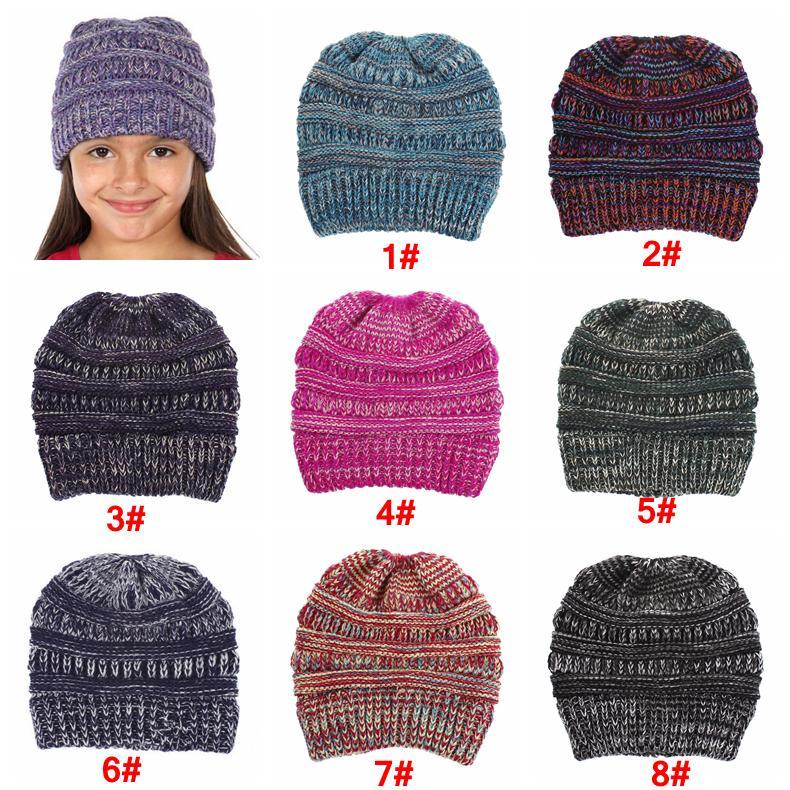 Großhandel 8 Farben Jungen Mädchen Häkeln Strickmütze Winter