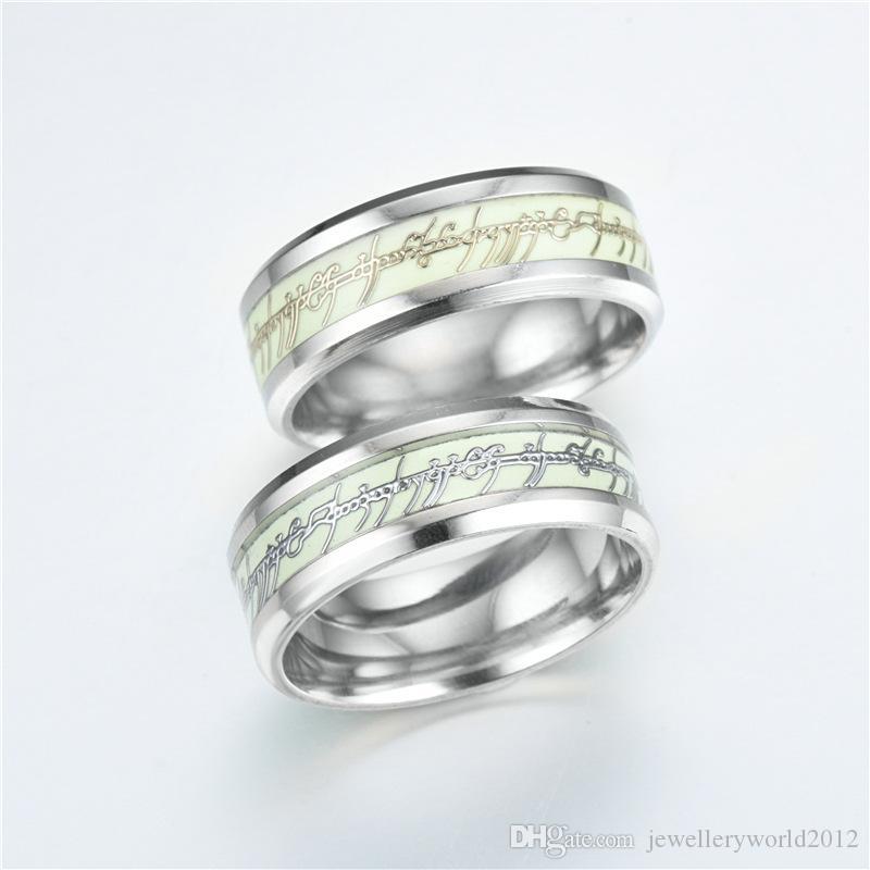 Europa acciaio inossidabile signore degli anelli fluorescenza luminoso anello maschile mix formato 6-13 #