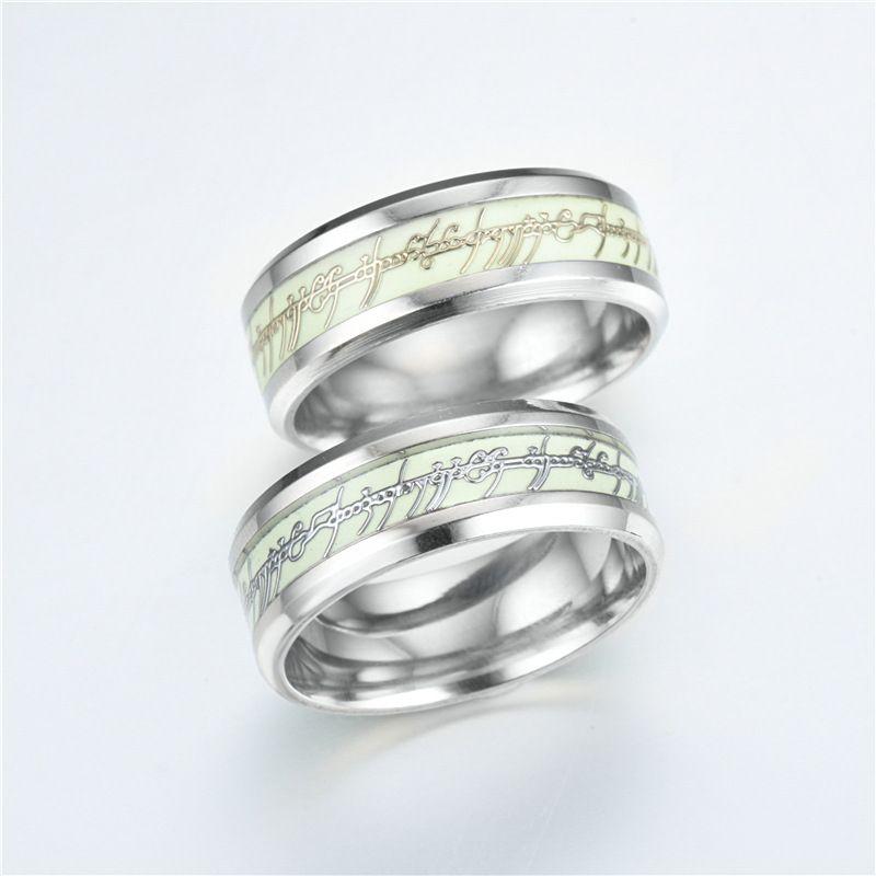 Europa Senhor dos anéis de aço Inoxidável fluorescente luminosa dos homens anel mix tamanho 6-13 #