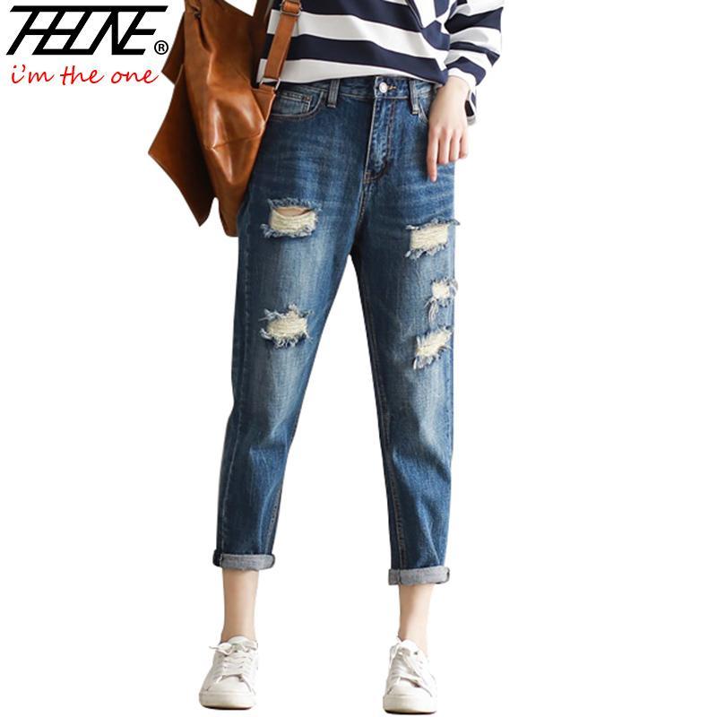 7129a7f7ed384 THHONE Ripped Jeans Women Denim Pants Harem Casual Trousers Holes Torned Fashion  Big Size 3XL Boyfriend High Waist Jeans Femme High Waist Jeans High Waist  ...