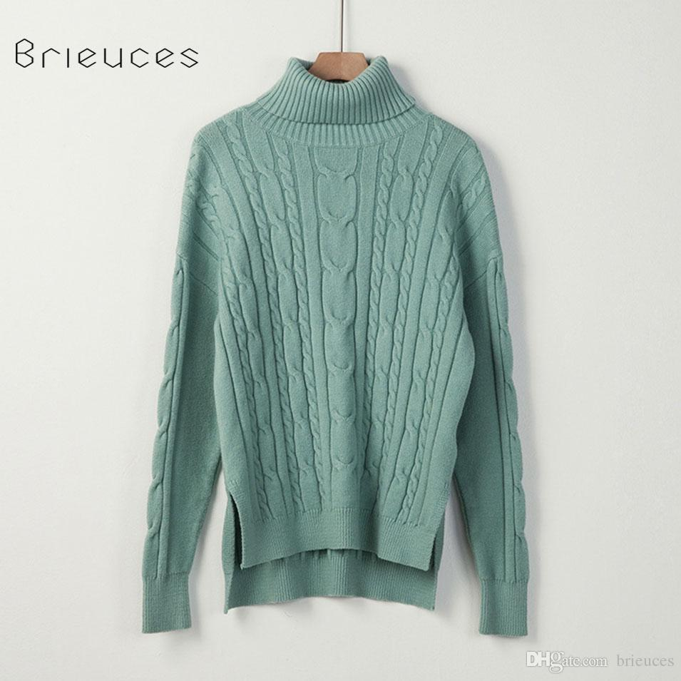 7b313266a280db 2019 Brieuces Turtleneck Winter Women 2018 Long Sleeve Knitted Women  Sweaters And Pullovers Female Jumper Tricot Tops Europe And America Sweater  From ...