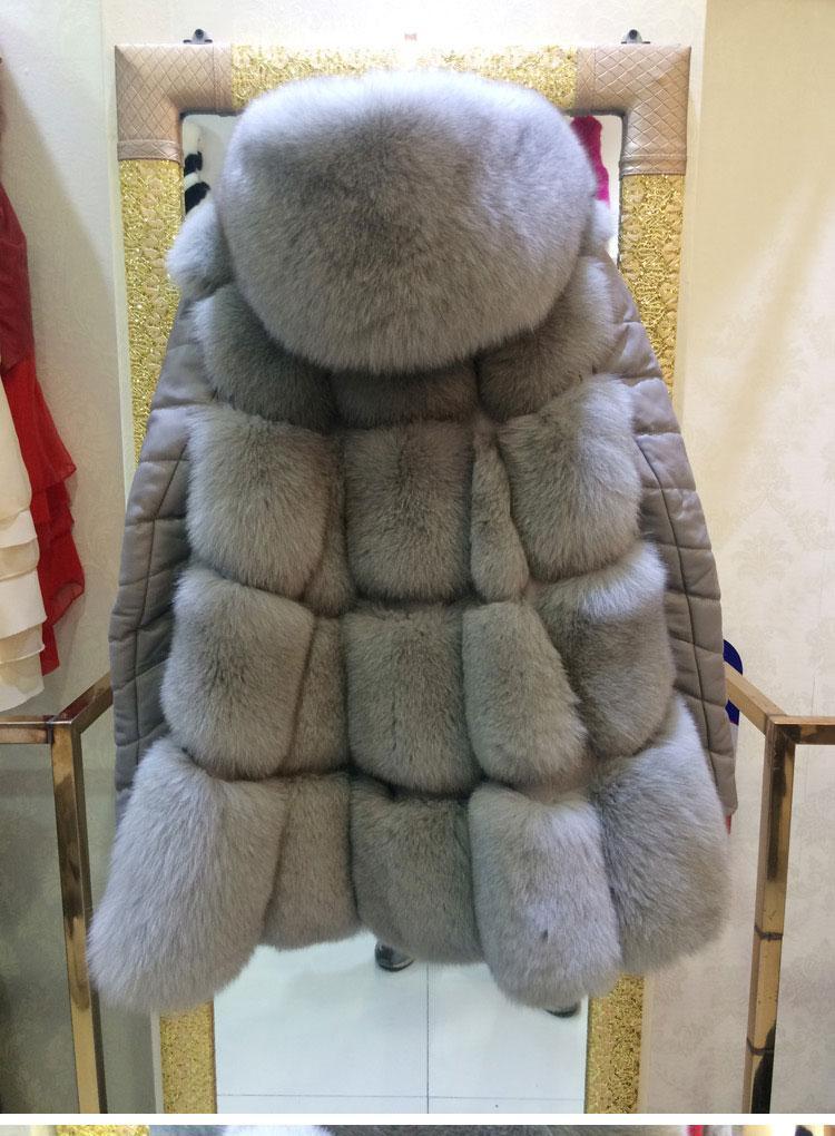 Cappotto di pelliccia da donna con vera manica staccabile in pelle di pecora, Cappotto con cappuccio in pelliccia di volpe naturale 2016 autunno inverno caldo