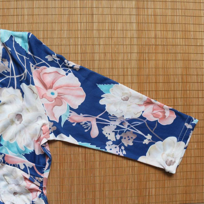 Vestidos de praia impressão flor férias férias vestidos de decote em v colorido à beira-mar vestidos longos 3/4 cinto de manga 5 cores s-xxl ravb
