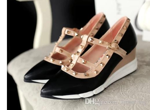 d44a56306aad4 Free Send Autumn New Style Pointed End Rivets Slope Heel Women s ...
