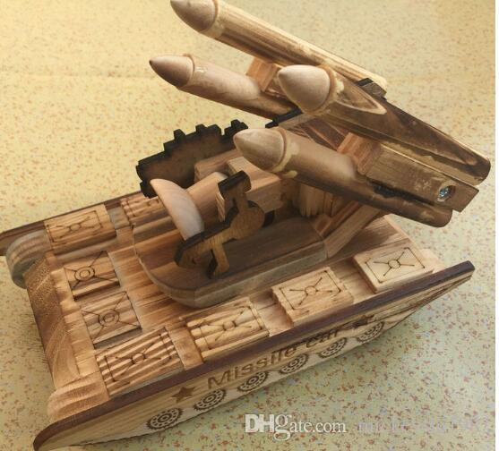 Ornaments model tank wooden art and crafts tank armored car model simulation military missile car ornaments wood crafts