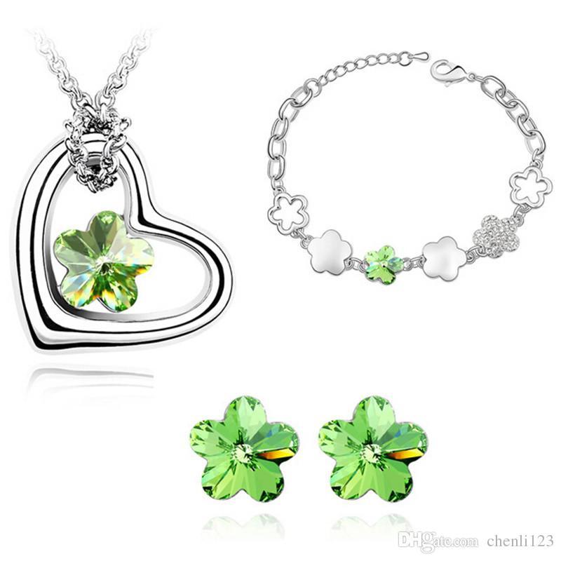 Damen Modeschmuck Set Blumen Kristall von Swarovski Elements Herz Halskette Armband Ohrringe Party Zubehör 4325
