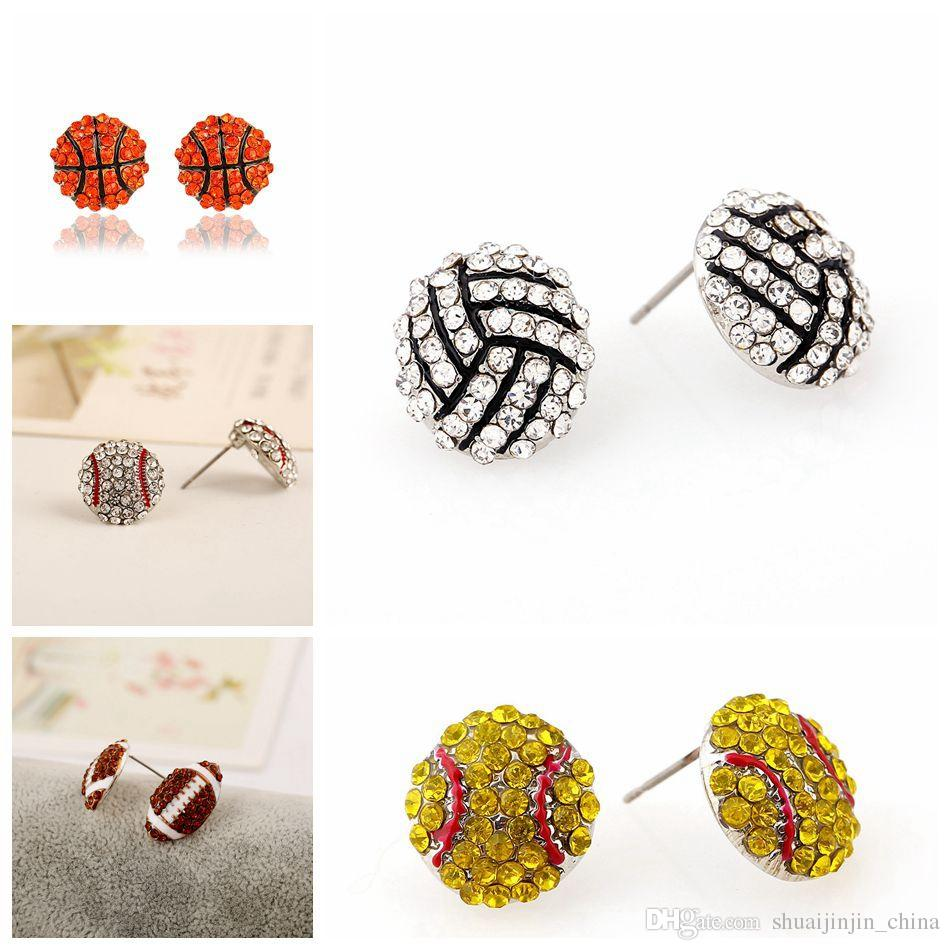 Chic Sports Earrings Rhinestone Bling Basketball Baseball Stud Earrings Softball Volleyball Earrings Sports Ear Stud LJJO4475