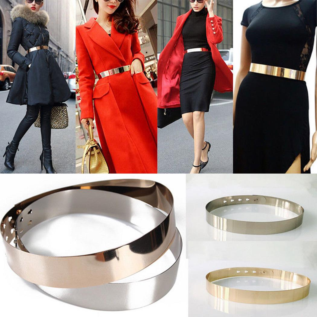 Punk Full Metal Mirror Belts For Womens Dress Gold Sliver Plate Wide Chains Skinny Waist Belt Adjustable Sashes Belts Waistband