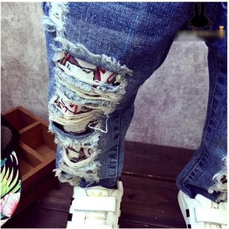 2017 Marka Yeni Moda Sonbahar Bebek Erkek Kız Kot Çocuk Kırık Delik Pantolon Pantolon 3-7Yrs Çocuklar Pantolon Çocuk Giyim
