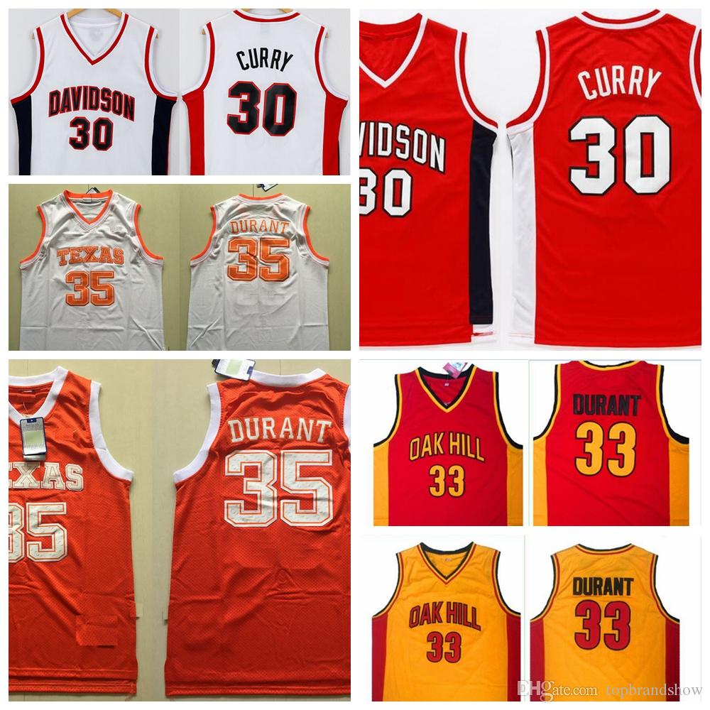 Davidson Wildcat 30 Stephen Curry Jersey Red Texas Longhorns 35 Kevin  Durant Jersey College Basketball Jersey Oak Hill High School Shirts Stephen  Curry ... 9b04bc9ab