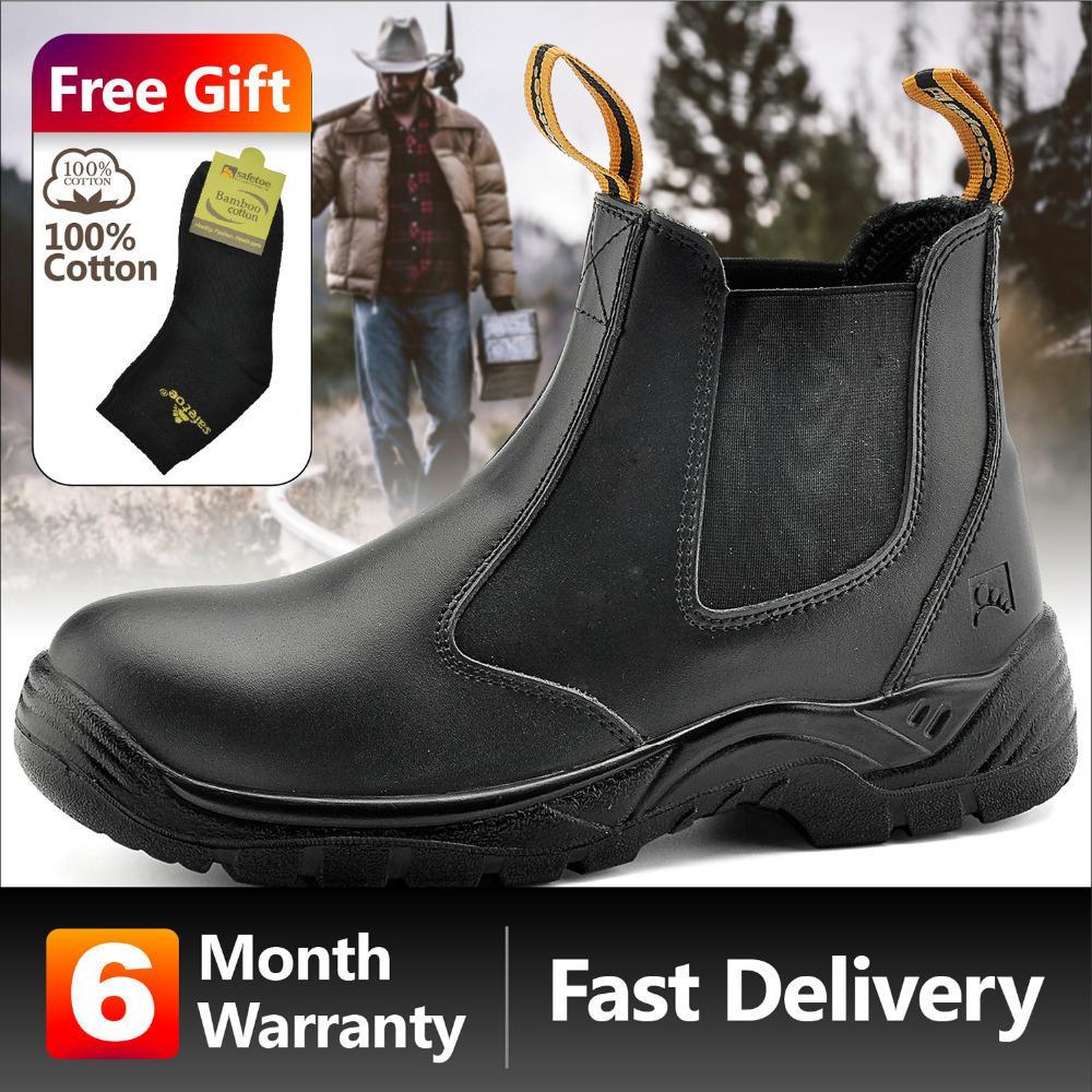 e76ad01fcca69 Compre 2019 Safetoe Couro Genuíno Calçados De Segurança Para Homens Sapatos  De Trabalho Botas De Segurança Impermeável S3 Botas De Trabalho Biqueira De  Dedo ...