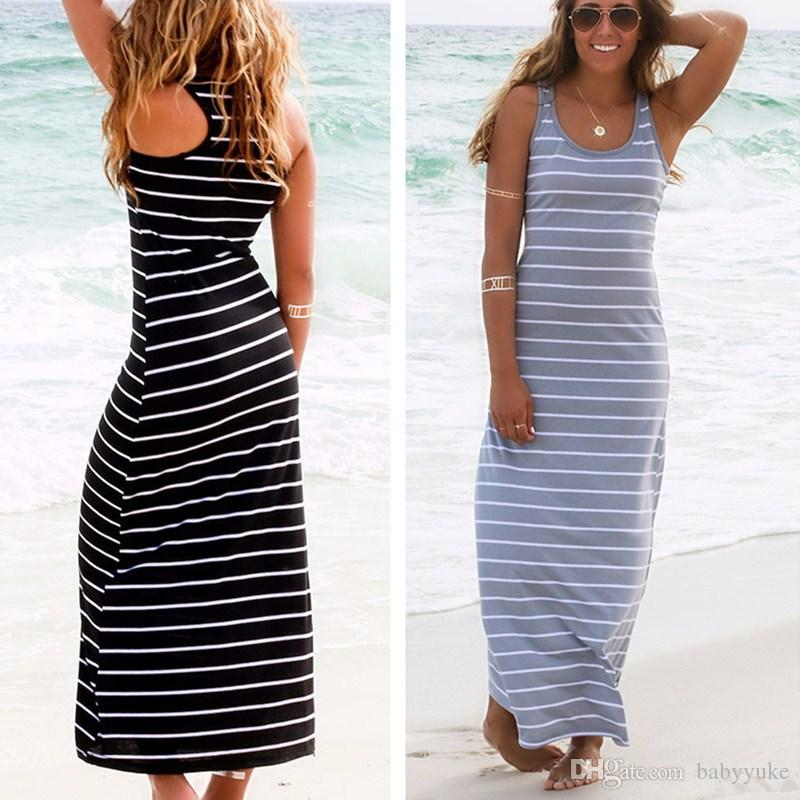15f7aa487efe Women S Clothing Casual Dresses Stripe Sleeveless Dress Long Skirt Summer  Fashion Brief Sexy Beach Dress No.135 Cheap Summer Dresses Strapless Dresses  From ...