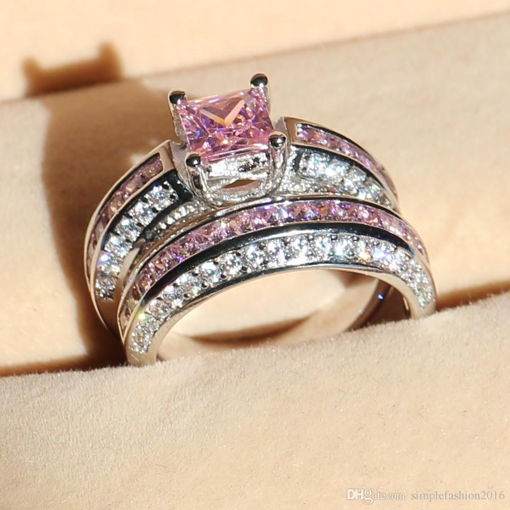 Victoria Wieck anillos de boda brillante conjunto para las mujeres 5A piedra de circón rosa Cz 10KT oro blanco anillo de piedra natal lleno