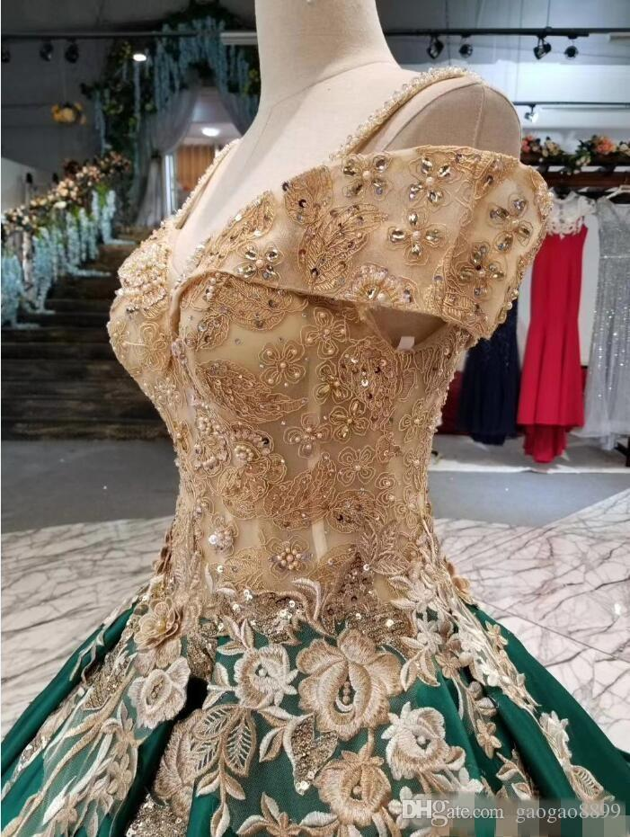 Dark Green 2018 Ball Gown Quinceanera Dresses Party Prom Wear Evening Gowns Off The Shoulder Sweep Train Lace Up