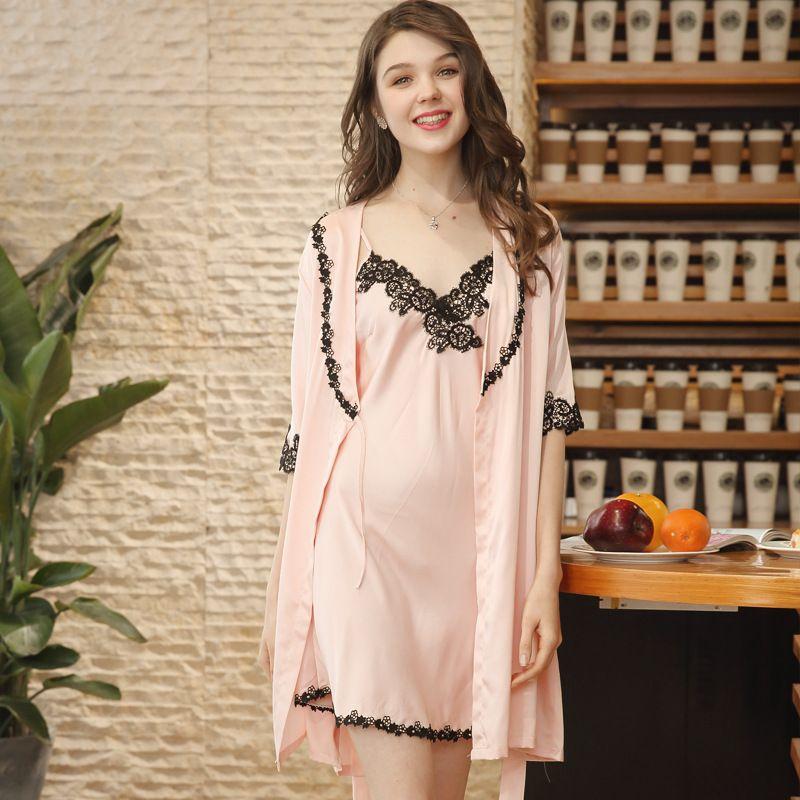64f6c2103b2 Luxury Summer Chic Lace Loungewear Pajama Set Robe+Dress Satin Silk  Sleepwear Lady Nightwear Sleep Dress Pijama Feminino Uxury Summer Lace Trim  Pajamas ...