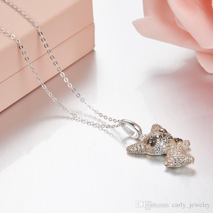 925 Sterling Silver Pendant Necklace Engraved S925 Rose Gold Dog Necklace for Women Men Memorial Best Christmas Gift