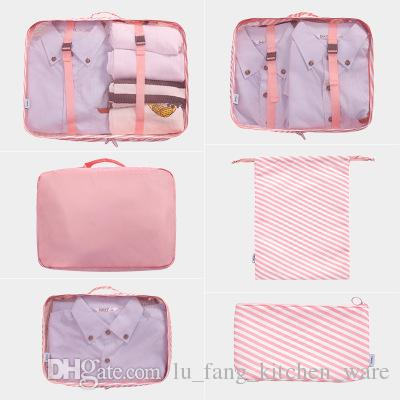 e68f498d4873 pink Storage bag 6PCS/Set waterproof Oxford Cloth Travel Mesh Bag In Bag  Luggage Organizer Packing Cube Organiser for Clothing wholesale