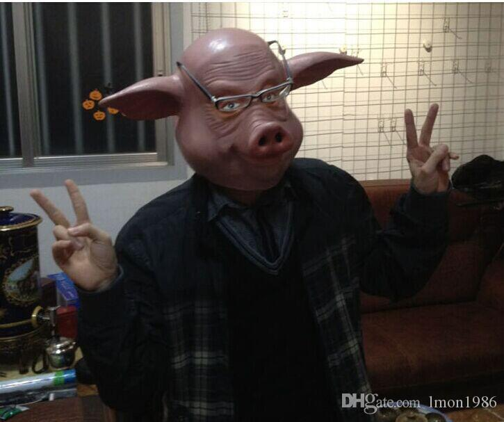 Hot selling Eco-friendly latex adult size Pig Mask full head cute pig animal halloween mask for cosplay and costume top sale