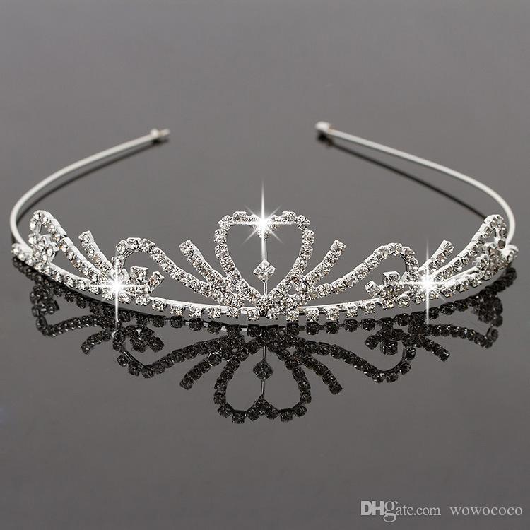 اليدوية لطيف الفضة الزفاف الزفاف كريستال كراون تي تياراس لطيفة هدية زهرة فتاة 11.7 * 3 سنتيمتر H0016