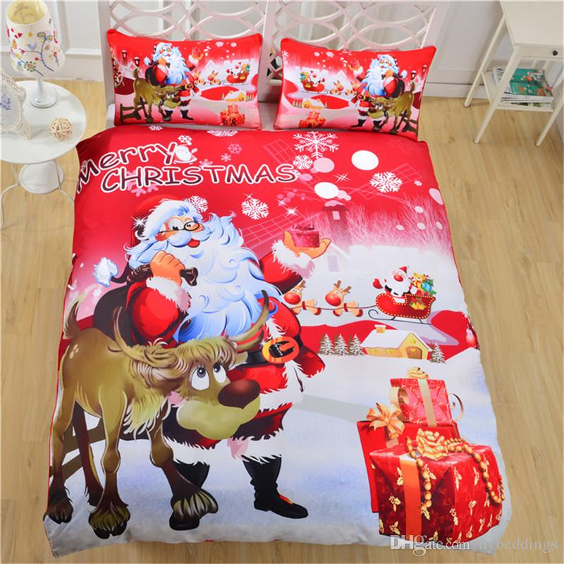 Christmas Bedding Set Bright Red Duvet Cover With Pillowcases Santa ...