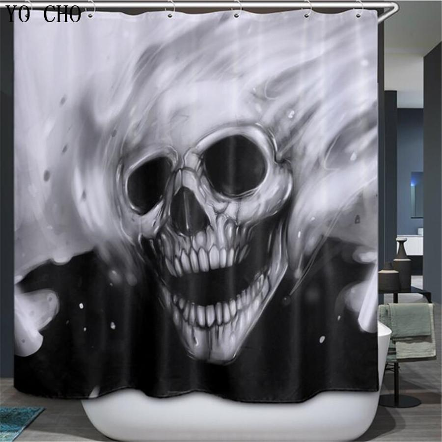 2019 YO CHO Skull Shower Curtain Halloween Bathroom Classic Waterproof Polyester Bath With Hook 3d Douche Gordijn From Goutour 2091