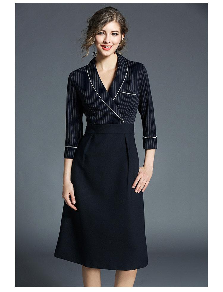 Damen Büro Kleid 2018 V-Ausschnitt 3/4 Ärmel Streifen Pathcwork Hemd Kleid Elegantes Arbeitskleid Dames Kleding Clothing Australia