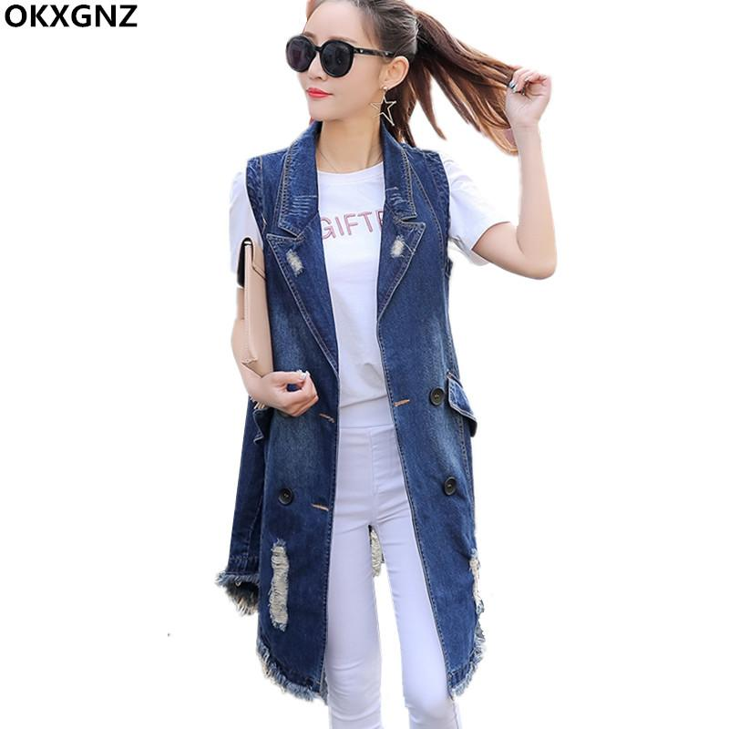 09d3ba46c96 2019 Denim Vest Women 2017 New Fashion Spring Autumn Sleeveless Long Vest  Coat Female Waistcoat Casual Tops Plus Size Outwear AH286 From Flowter