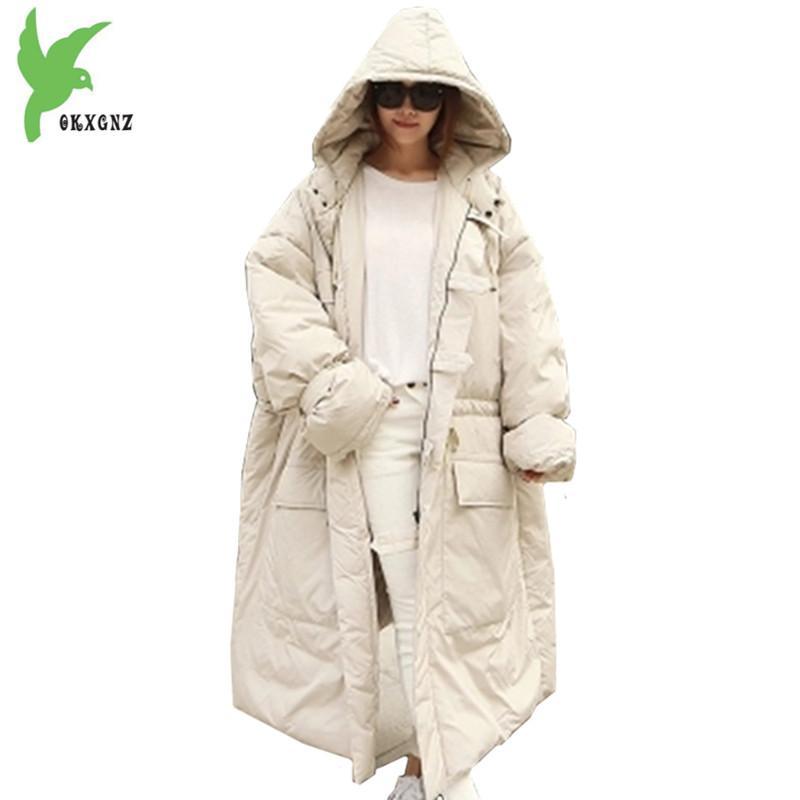 88e37539f Large Size Winter Women Jacket Coats Down Cotton Parkas Cloak Hooded Coats  Thicker Warm Loose Jackets Bust Size 160cm OKXGNZ1189
