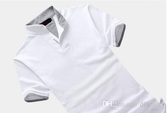 Fashion Design Hot Sell Polo da uomo Solid Stand Collar Manica corta Camicia Slim Fit uomo Casual in cotone Tshirt Plus Size 6XL