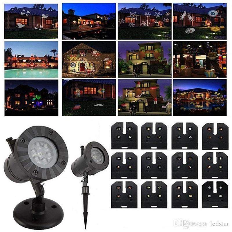12 Patterns Slide Impermeabile Natale Proiettore Laser Light Outdoor Party Decorazioni di Halloween Patio Stage Lights Garden Lawn Lamp