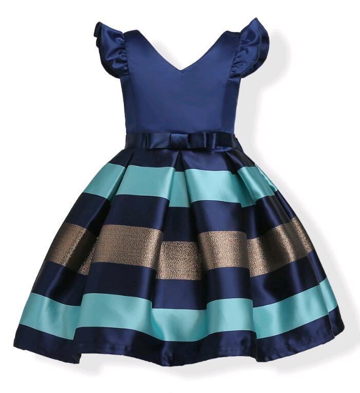 Moda Puff Sleeves Mix Color Stripe Jacquard Vestido de fiesta para niñas Wedding Satin Europe y American Princess Dresses fit 3-10 años niños