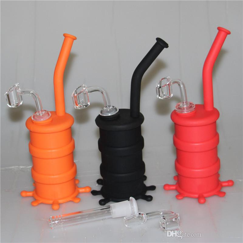 Silicon Rigs with 4mm quartz nail Waterpipe Silicone Hookah Bongs Silicon Dab Rigs Cool Shape silicone wax containers silicone bubbler bong