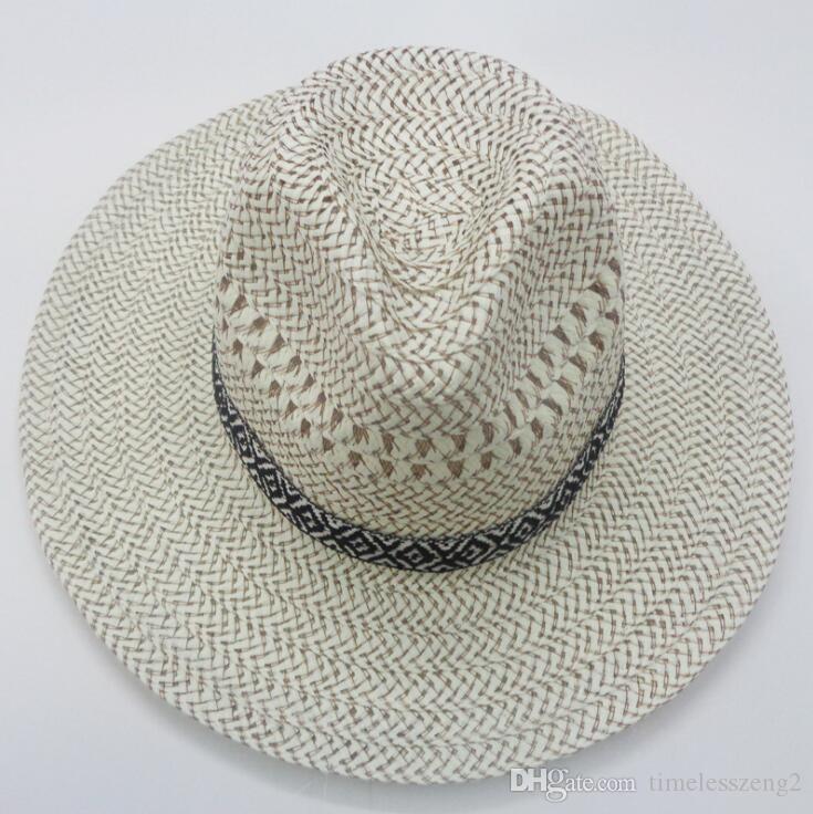 Toptan gentlemanlike Erkekler Straw Fedora Şapkalar Batı Amerikan Mens Casual Güneş Hat Güzel Plajı Şapkalar Çok Stil Ücretsiz Gemi