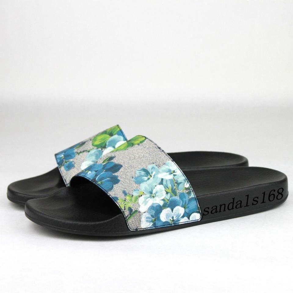 86413ec19d90 Mens Womens Fashion Blue Flower Blooms Rubber Slide Sandals Flip ...