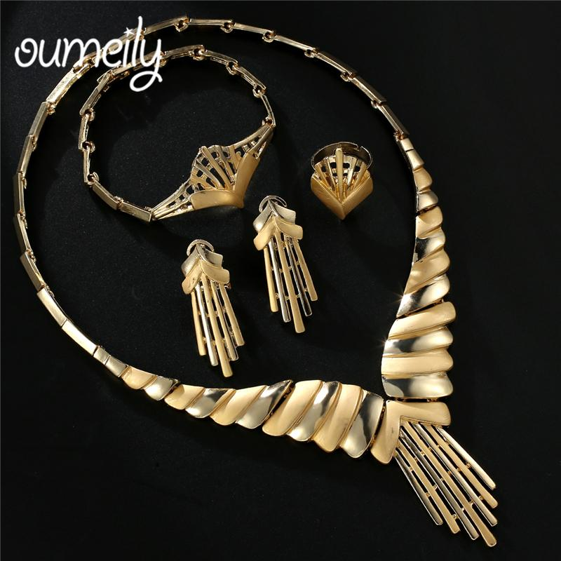 OUMEILY New Fashion African Costume Jewelry Set Dubai Bridal Turkish Nigerian Gold Color Jewellery Set For Women Accessories