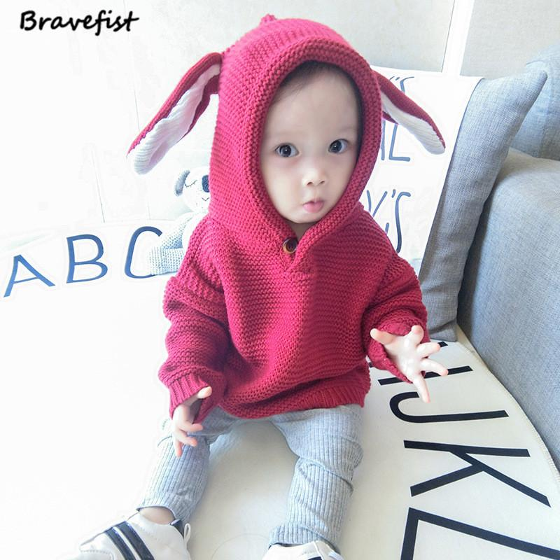 e5710ef95 Autumn Winter Boys Sweater 3D Rabbit Bunny Pullover Kids Girls ...