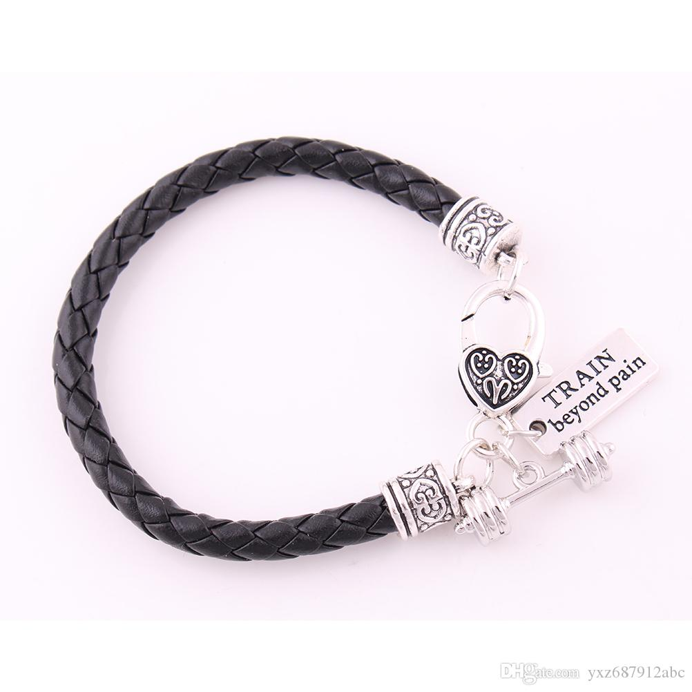 "Apricot Fu Leather Braided CrossFit Weight Lifting Fitness Dumbell Barbell Charm Pendent Bracelet ""Train Beyond Pain"""