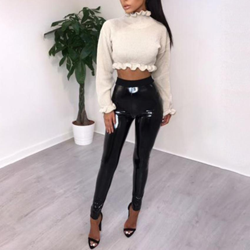 2eddc9c9fc544 2019 Abbille New Leather Disco Pants Sexy Women Ladies Black Vinyl PVC  WetLook Shiny Elasticated High Waist Skinny Leggings Pant 2018 From  Lichee666, ...
