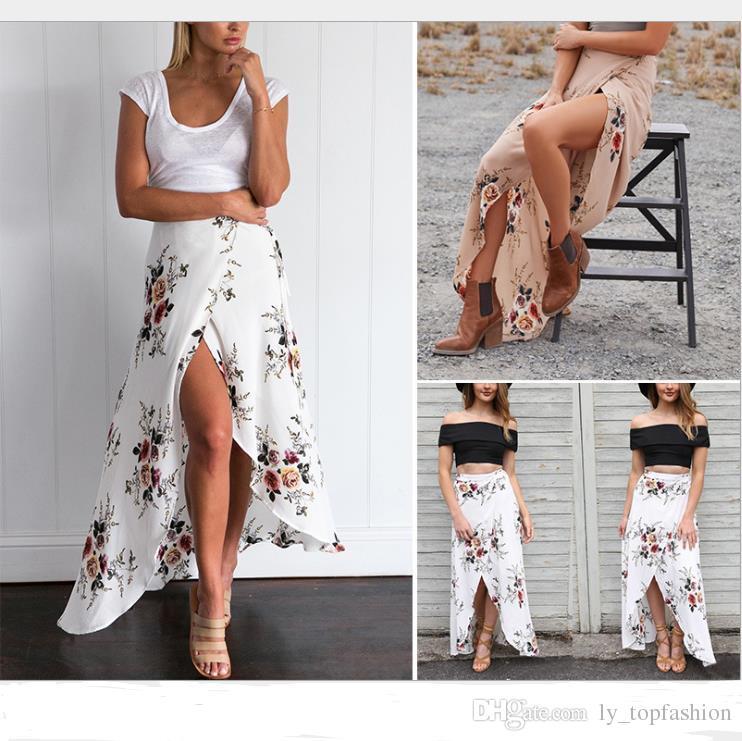 dd90f59614 2019 2018 Vintage Floral Print Long Sexy Skirts Women Summer Elegant ...