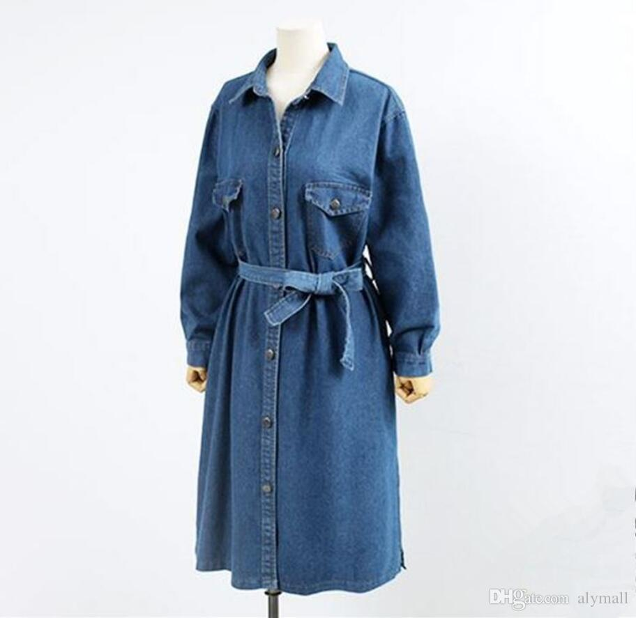 82836b3840c New Women Autumn Denim Long Trench Coat Solid Slim Ladies Plus Size Casual  Party Fashion Long Outerwear Online with  53.9 Piece on Alymall s Store