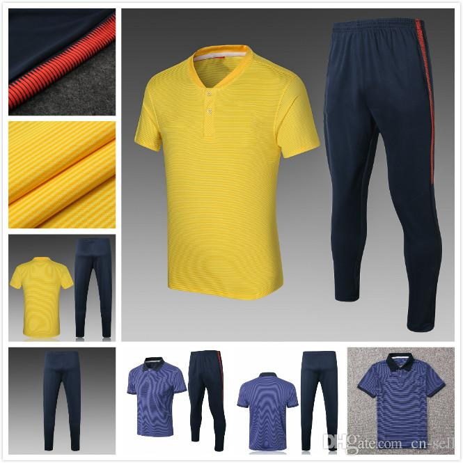 newest collection 23582 50af5 2018 PSG POLO Training Suit Yellow Blue 18 Paris Neymar JR GLROUD HAZARD  Dybala Titto SOCCER Top quality